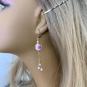 Unique, Handcrafted Rose Glass Bead Earrings